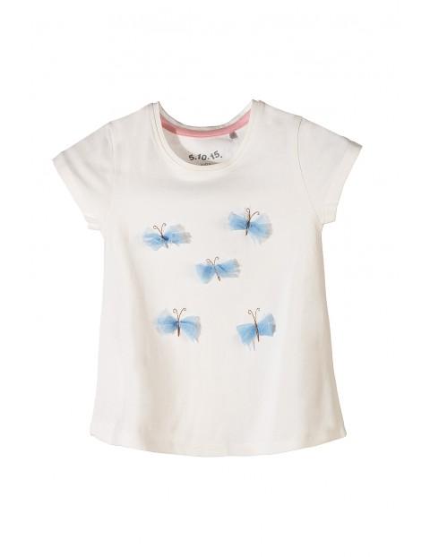 T-shirt dziewczęcy biały- tiulowe motyle