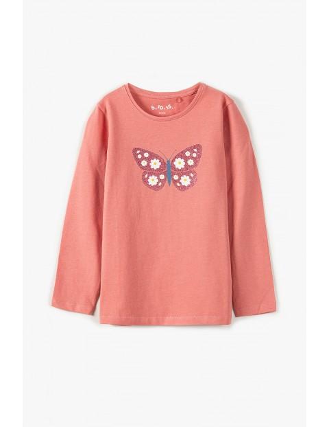 Bawełniana bluzka dziewczęca na długi rękaw - różowa z motylkiem
