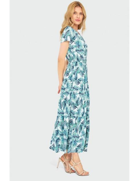 Wiskozowa długa sukienka z nadrukiem