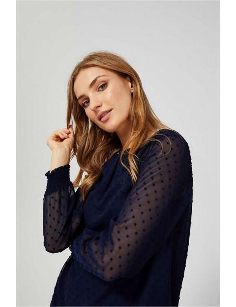 Koszula damska granatowa z transparentnymi rękawami