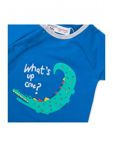 Pajac niemowlęcy z krokodylem - niebieski
