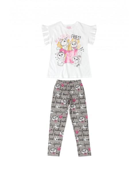 Komplet dziewczęcy bluzka+ spodnie w kotki
