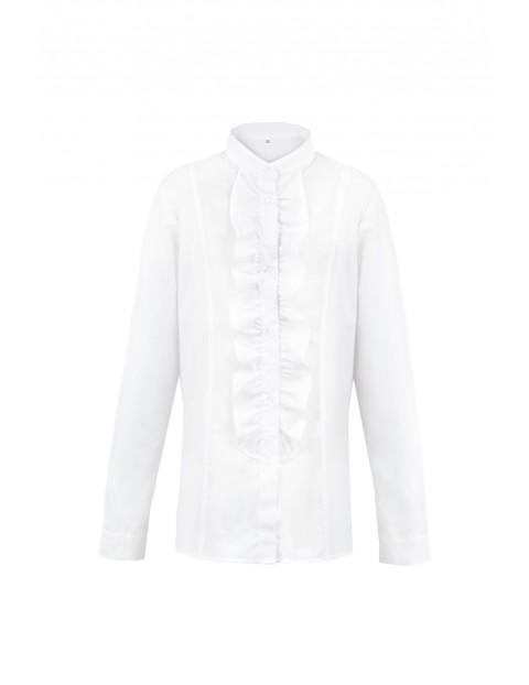 Biała koszula dziewczęca z żabotem