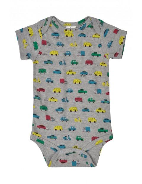 Body niemowlęce szare w kolorowe auta