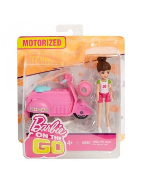Barbie On The Go Różowy skuter + Lalka