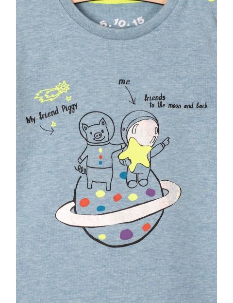 Bluzka niemowlęca z kosmicznym nadrukiem- niebieska
