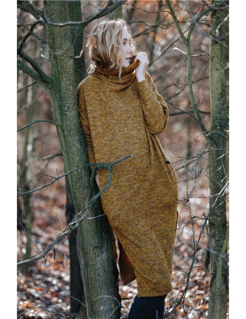 Sukienka damska dzianinowa - brązowa