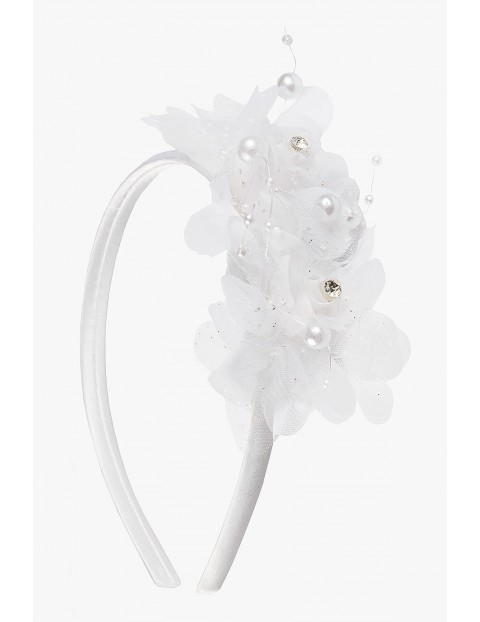 Opaska do włosów- biała z tiulowym kwiatkiem
