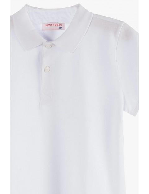 Bawełniany t-shirt chłopięcy biały z kołnierzykiem