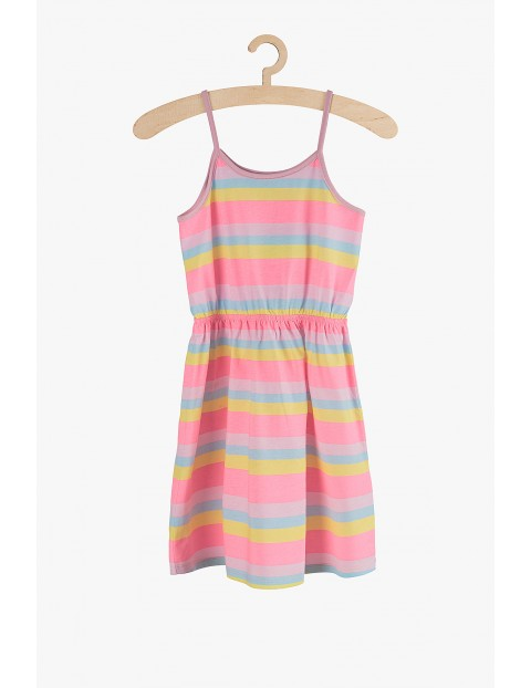 Sukienka dziewczęca na lato w kolorowe neonowe paski