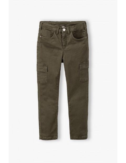 Spodnie dziewczęce z kieszonkami - khaki