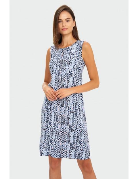 Wiskozowa sukienka z nadrukiem luźny krój