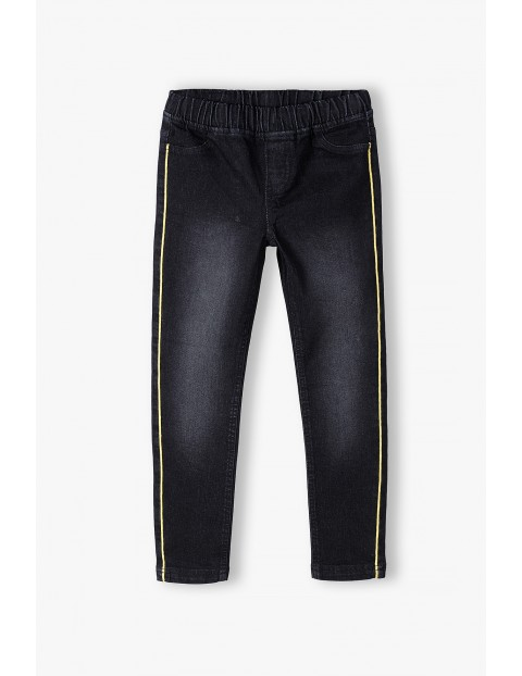 Spodnie dziewczęce - czarne z lampasami