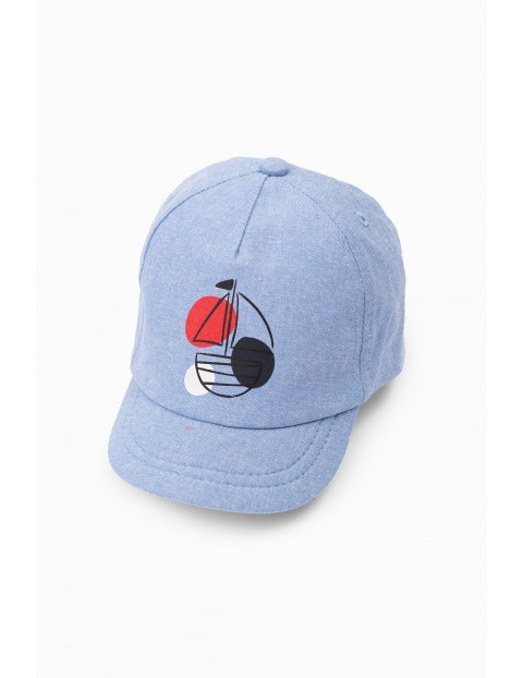 Niebieska czapka niemowlęca z daszkiem