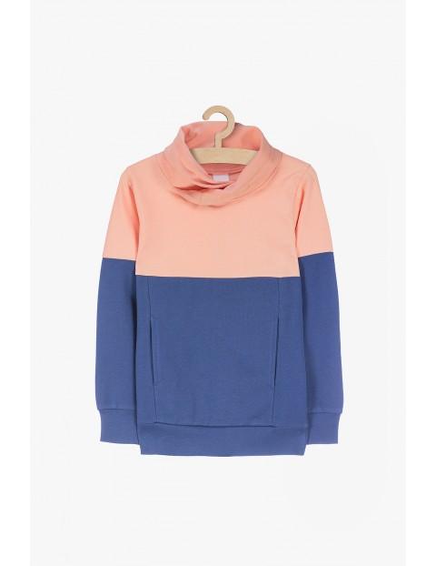 Bluza dresowa z kieszeniami- różowo- niebieska