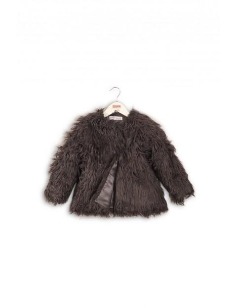 Kurtka przejściowa dla dziewczynki- włochaty płaszczyk