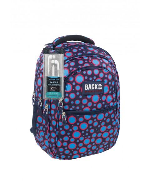Plecak BackUP +SŁUCHAWKI kolorowy wzór geometryczny