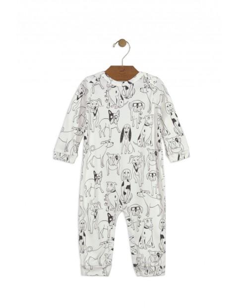 Pajac niemowlęcy biały w pieski