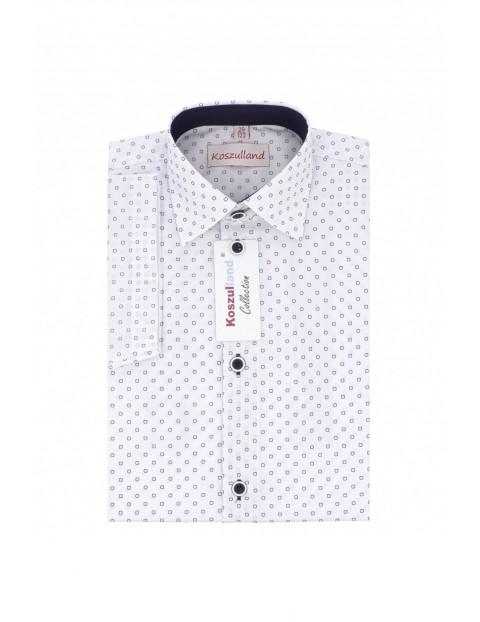 Koszula chłopięca biała w niebieskie kółka