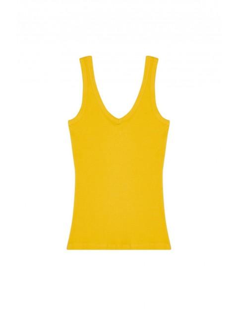Bawełniany top na ramiączkach żółty