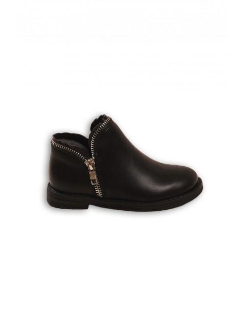 Buty dziewczęce czarne z suwakiem