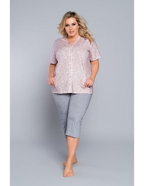 Dwuczęściowa piżama damska - bluzka na krótki rękaw i szare spodnie