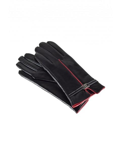 Rękawiczki damskie skórzane antybakteryjne - czarne z czerwoną wstawką
