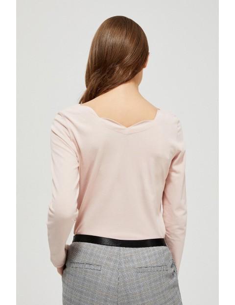 Bluzka damska  z ozodbnym dekoltem - różowa