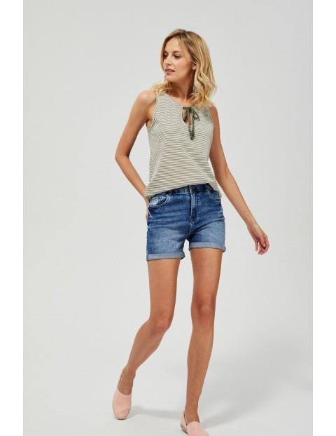 Szorty damskie jeansowe z podwiniętymi nogawkami niebieskie