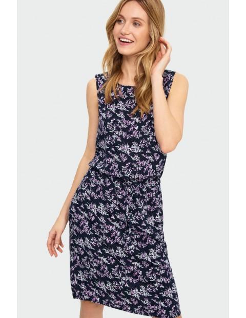 Wiskozowa sukienka z roślinnym nadrukiem