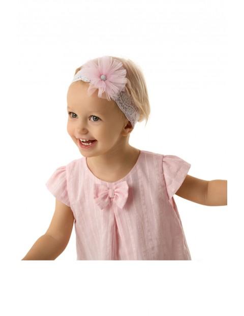 Koronkowa opaska na głowę z tiulowym różowym kwiatkiem