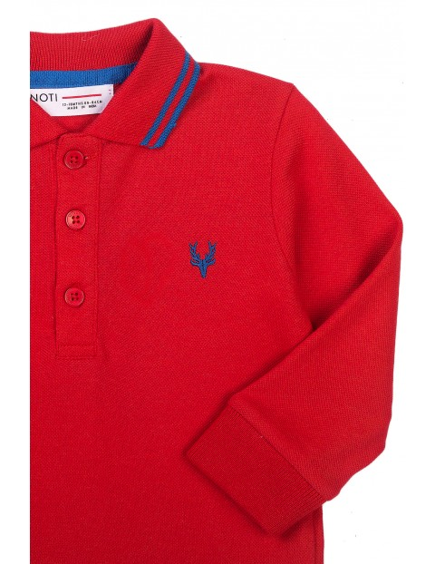 Bluzka chłopięca bawełniana z kołnierzykiem- czerwona