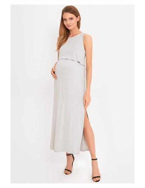 Sukienka ciążowa i dla karmiącej mamy Maxi- szara