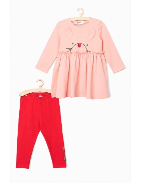 Komplet ubrań dla dziewczynki- tunika i leginsy