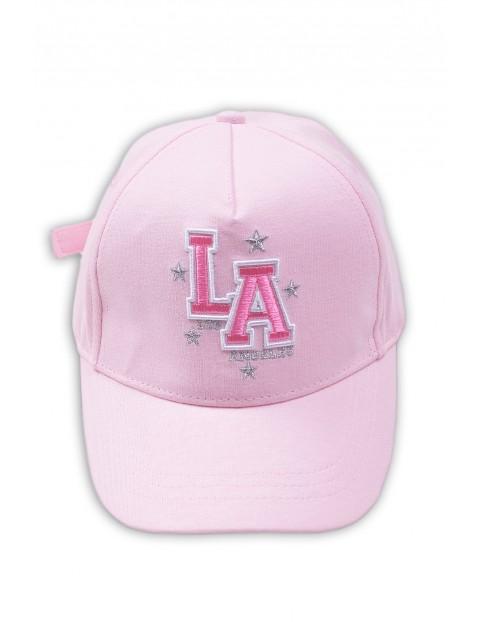 Czapka z daszkiem różowa z naszywką -LA