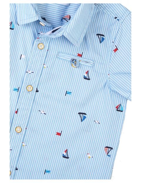 Bawełniana koszula chłopięca w łódki - krótki rękaw