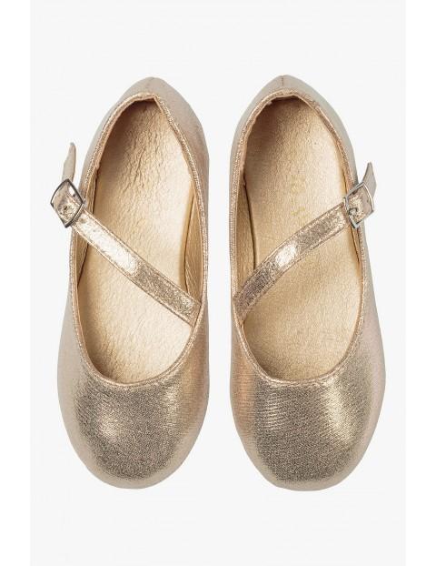 Buty dla dziewczynki - złote baleriny