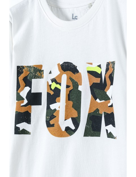 T-shirt chłopięcy z nadrukiem FOX