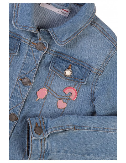 Kurtka dziewczęca jeansowa z naszywkami