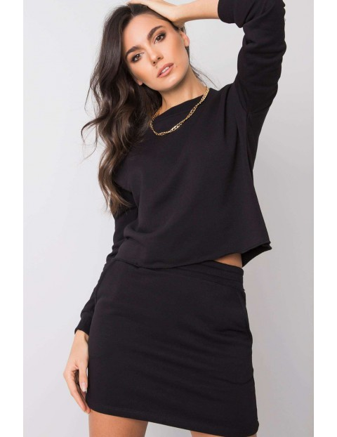 RUE PARIS Komplet damski - krótka spódniczka i bluza dresowa - czarna