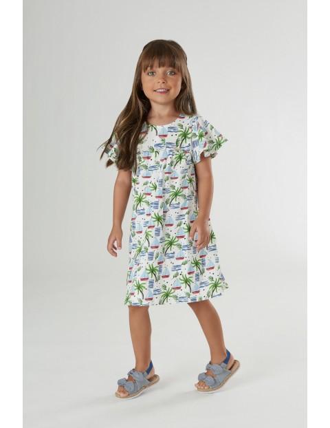 Sukienka dziecięca  w palemki i w łódki - biała