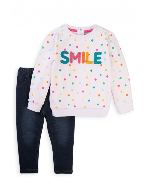 Bawełniany komplet dziewczęcy dwuczęściowy Smile