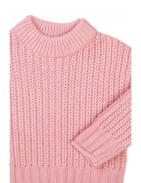 Sweter dziewczęcy dzianinowy różowy