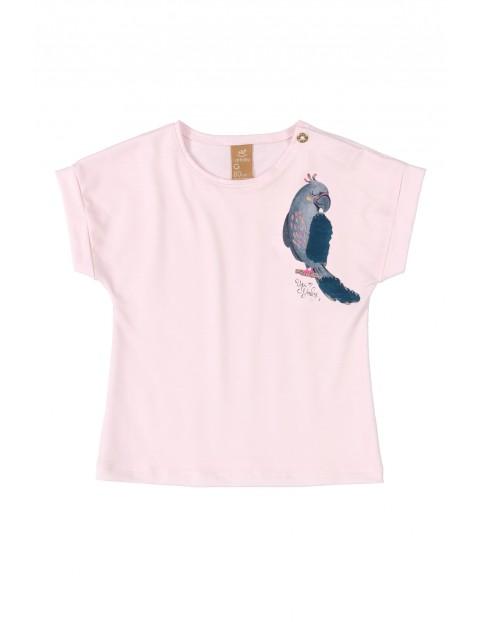 Koszulka niemowlęca z papugą - różowa
