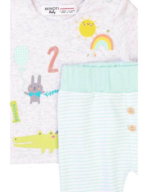 Bawełniany komplet niemowlęcy t-shirt i spodnie