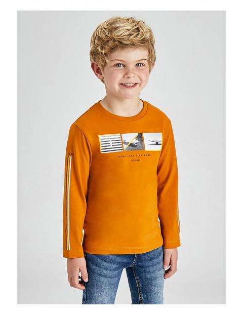 Bawełniana koszulka chłopięca z nadrukiem z długim rękawem - żółta