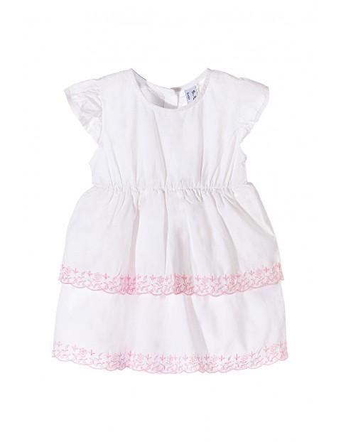 Sukienka biała dla niemowlaka - różowe haftowane kwiatki