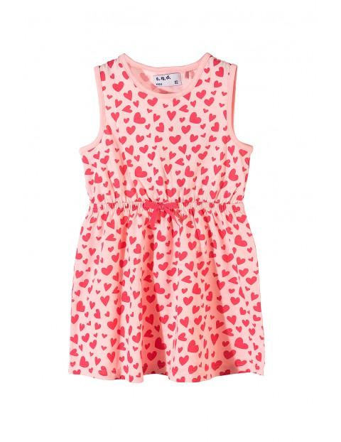 9b946cf4e1 Sukienka bawełniana na lato- różowa w serduszka