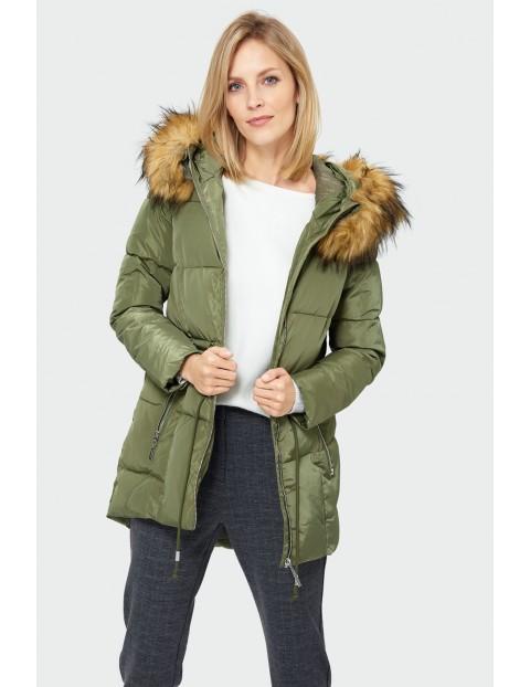 Kurtka damska zimowa- zielona z kapturem