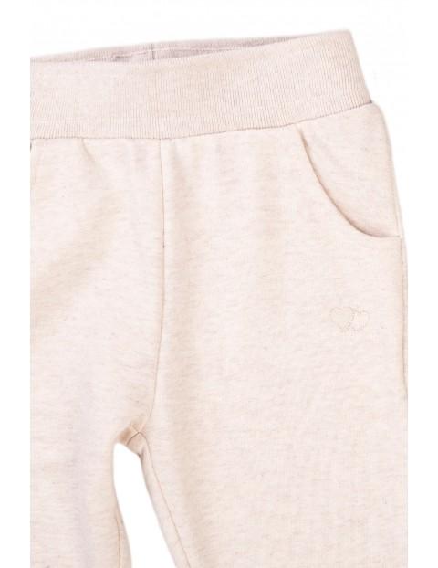 Spodnie dresowe dziewczęce ecru